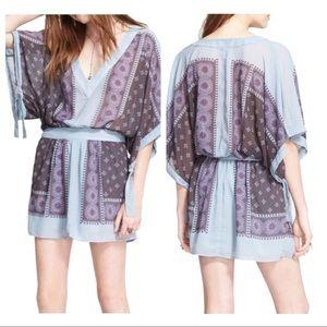 Free People Dusty Blue Santa Cruz Kimono Dress XS